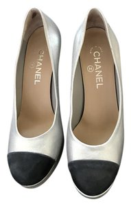 Chanel Silver metallic and Navy Blue Pumps