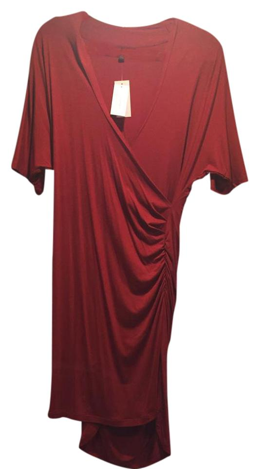 6a79252d5c4 Banana Republic Red Shirred Faux Mid-length Night Out Dress Size ...