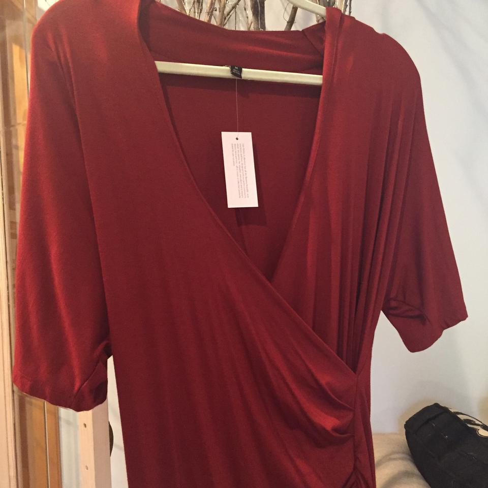 5826f37d87e Banana Republic Red Shirred Faux Mid-length Night Out Dress Size Petite 8  (M) - Tradesy