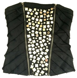 bebe Studded Strapless Sexy Cropped Steampunk Bandage Fitted Parladimoda Talkingfashion Stretch Sexy Studded Top Black And Silver