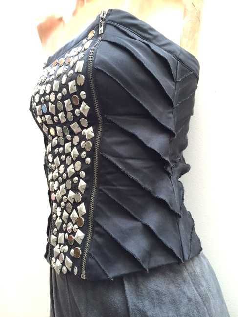 bebe Corset Strapless Sexy Parladimoda Talkingfashion Rockstud Top Black And Silver