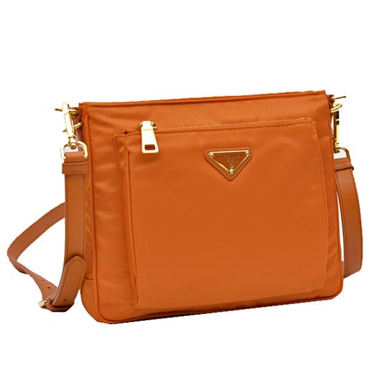 d1c9a01560bd Prada Bt0693 Papaya Tessuto Saffian and Leather Crossbody Orange ...