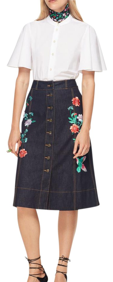962d127f7a Kate Spade Blue Embroidered Denim Skirt Size 4 (S