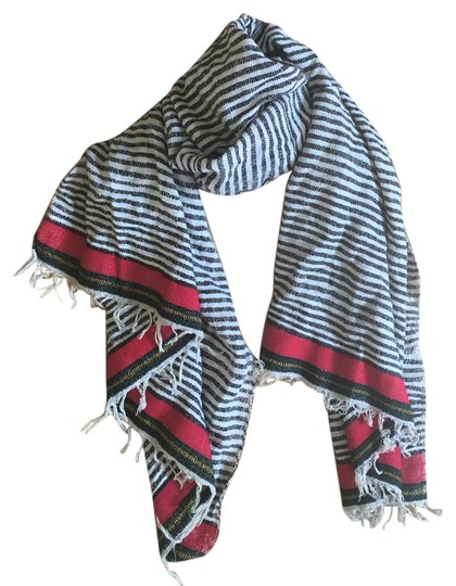 Preload https://img-static.tradesy.com/item/21750325/madewell-ivory-black-red-green-gold-woven-cotton-striped-fringed-scarfwrap-0-1-540-540.jpg