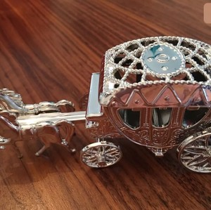 Silver Metallic Horse Carriages - 9 Count
