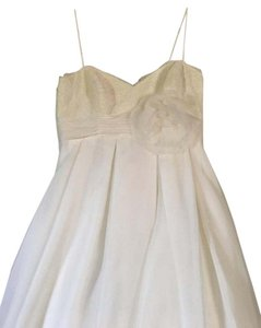 David's Bridal Ivory Spaghetti Strap Empire Waist Ball Gown Traditional Wedding Dress Size 14 (L)