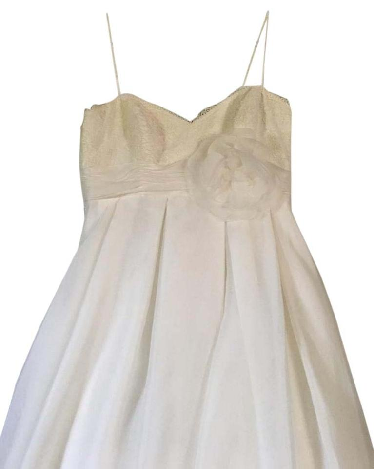 David\'s Bridal Ivory Spaghetti Strap Empire Waist Ball Gown ...