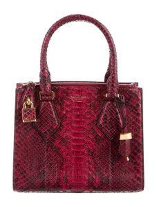 af6cf3335b17 Michael Kors Collection Casey Small Red Python Skin Leather Satchel ...