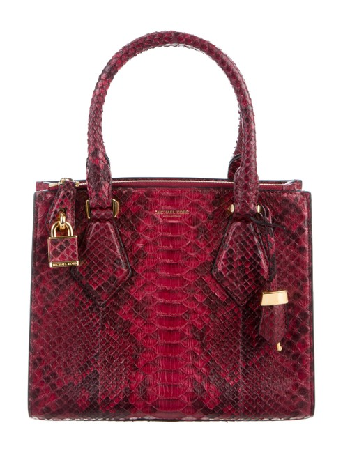 Item - Casey Small Red Python Skin Leather Satchel