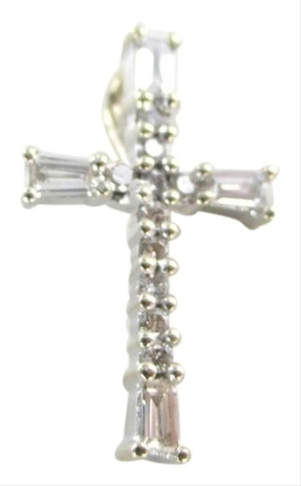 Other 14KT SOLID WHITE GOLD CROSS 14 DIAMONDS .40 CARAT 1.0 GRAMS PENDANT CHARM JEWEL Image 0