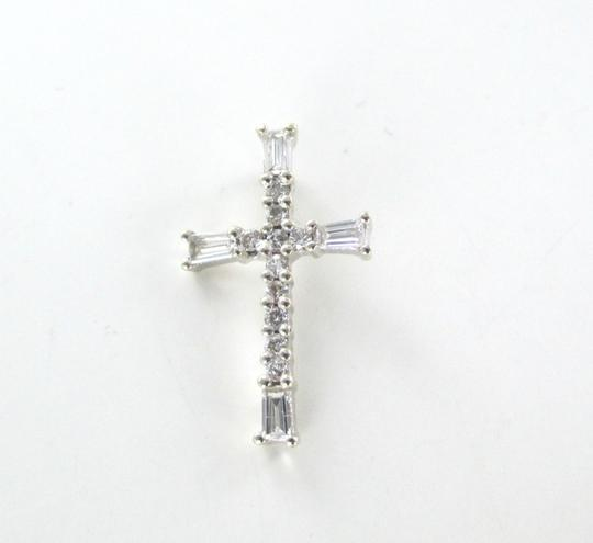 Other 14KT SOLID WHITE GOLD CROSS 14 DIAMONDS .40 CARAT 1.0 GRAMS PENDANT CHARM JEWEL Image 4