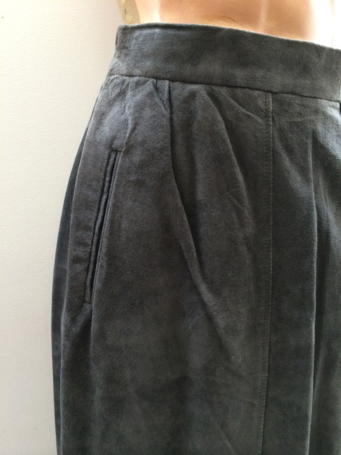 Other Leather Suede Leather Pencil Suede Pencil Feminine Vintage Suede Skirt Dark Gray Charcoal
