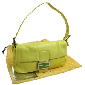 Fendi Hardware Lemon Lambskin Lthr Ltd Ed Baguette Mint Condition Enamel Satchel in yellow/chrome/lime FF clasp