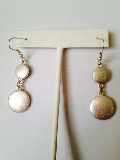 """My Closet- Embellished by Leecia 2-Piece Set, Matt Silver-Tone """"Circles"""" Necklace & Earrings"""