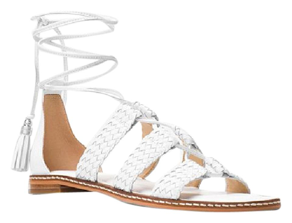 c5fd3e4abf79 Michael Kors Optic White Montere Leather Gladitor Sandals Size US ...