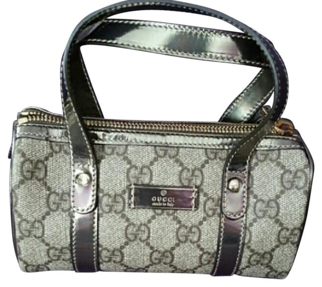 Item - Boston Bag Mini Gray and Silver Leather Wristlet