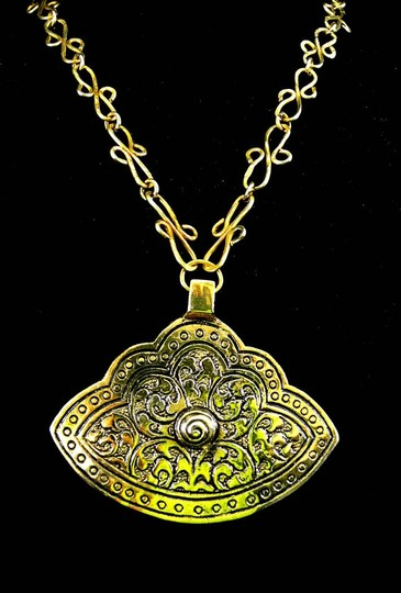 Other Etched Brass Pendant With Unique Chain