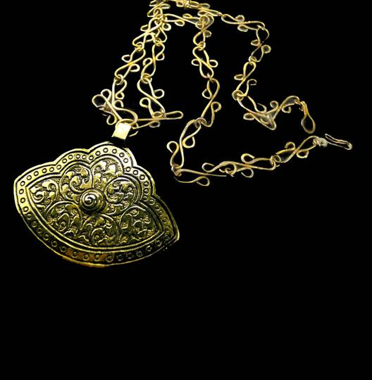 Other Etched Brass Pendant With Unique Chain Image 5