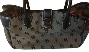 Dooney & Bourke Tote in Black leather handles, trim with charcoal gray canvas