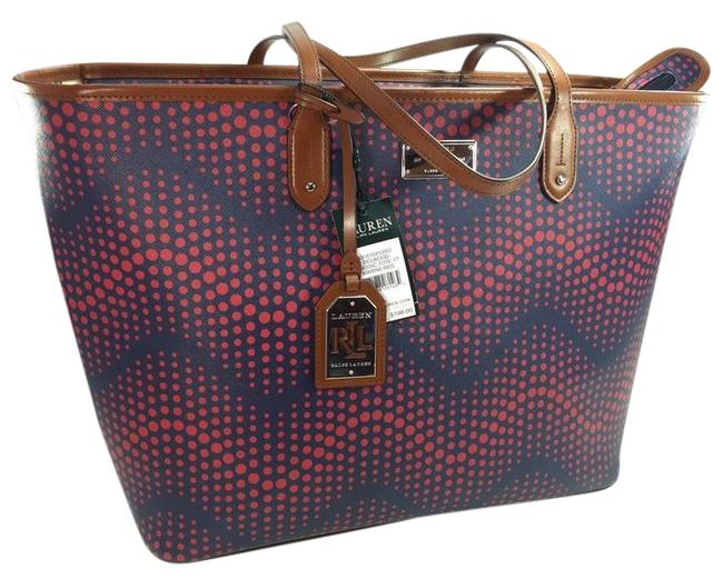 Item - Delwood Classic Tote-tt Marine/Red Blue and Red Coated Canvas Tote