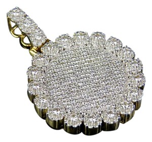 Jewelry Unlimited Solid 10K Yellow Gold Diamond Cluster Medallion Pendant 3.15 Ct 1.6""