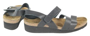 Naot Leather Strappy Black Wedge Sandals