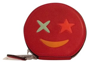 Coach STAR ROUND LEATHER COIN CASE