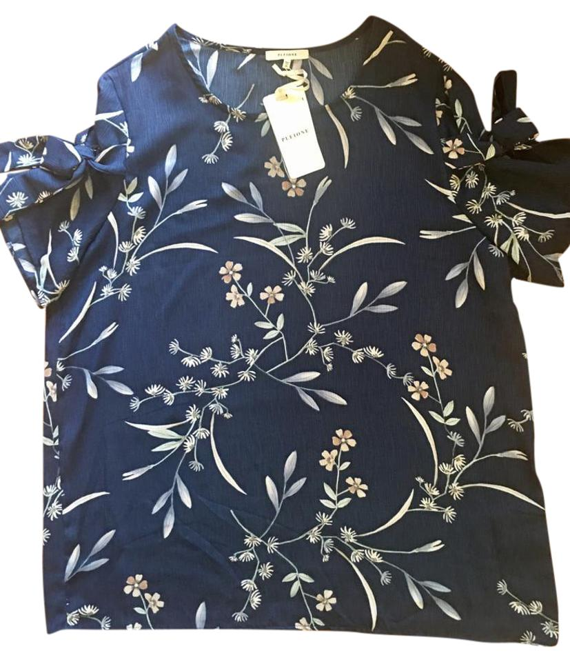 Pleione Blue Ivy Flowers Nordstrom Ladies Blouse Size 14 L Tradesy