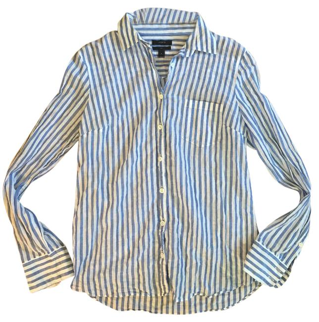J crew blue white crinkle gauze lightweight cotton boy for Gauze button down shirt
