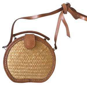 Anthropologie Straw Leather Woven Vintage Cross Body Bag