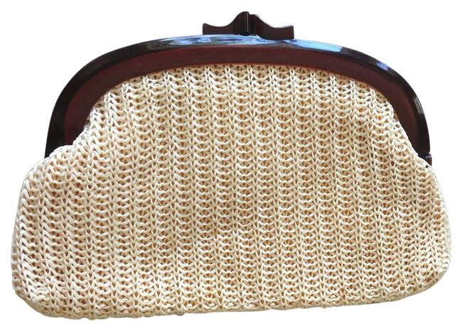 Item - Woven Raffia with Frame Tan Brown Acetate Clutch