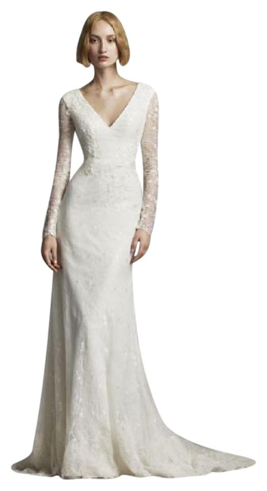 Vera Ivory Beaded Lace Long Sleeve Vw351270 Feminine Wedding Dress Size 4 S