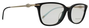 Tiffany & Co. Square Black Gold Diamond Cluster Rx Eyeglasses TF 2133-B-F
