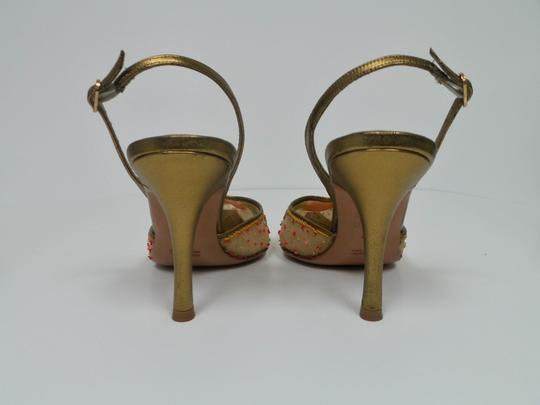 Rene Caovilla Gold/Beige Pumps