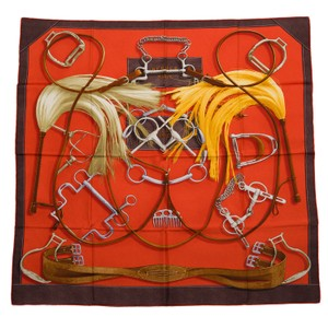 "Hermès Hermes ""Project Carres"" Silk Twill Scarf 90cm"
