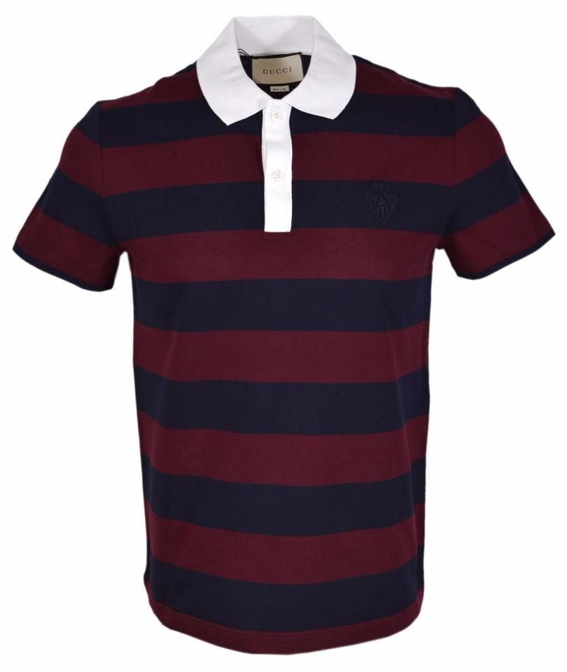7f4e9bd6 Gucci Blue/Burgundy Hysteria New Men's 441687 Striped Slim Fit Crest Polo  Tee Shirt