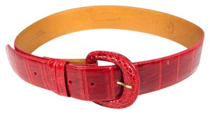 LAI RED CROCODILE BELT - XS - EXTRA SMALL SCALES ALLIGATOR CROC LEATHER