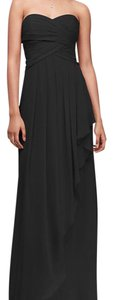 David's Bridal Black Chiffon W10840 Feminine Bridesmaid/Mob Dress Size 2 (XS)