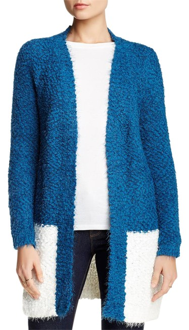 Item - Open Front Colorblock Knit Blue-white Sweater