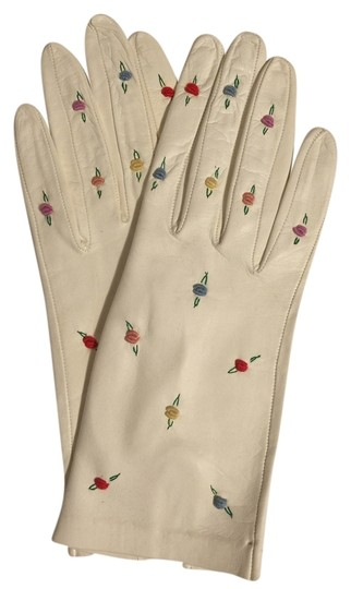 "Other Leather Embroidered ""Roses"" Gloves ( Size Small; Up to 6.5) [ Roxanne Anjou Closet ]"