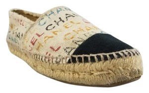 Chanel Espadrilles Canvas Logo Double Sole Cream Flats