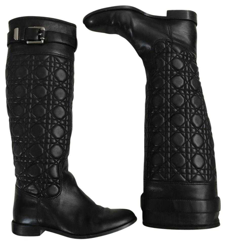14bca8b3992 Dior Black Quilted Cannage Nappa Leather Boots Booties Size US 6 ...