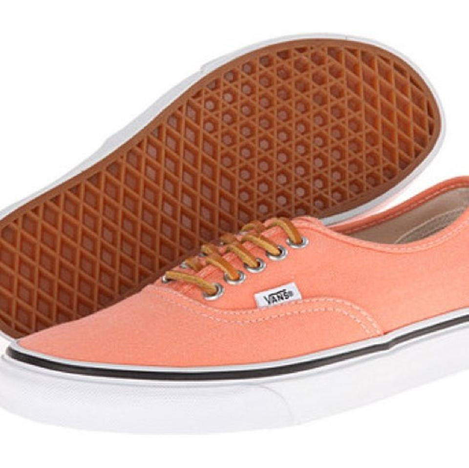 Vans Salmon New with Tags Brushed Twill Leather Lace Boat Flats Size ... 8d2e7b641