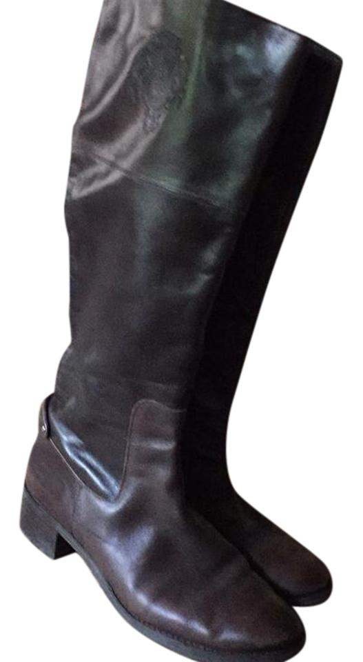 Etienne Aigner Riding Brown Genuine Leather Crest Riding Aigner Boots/Booties 2236c7