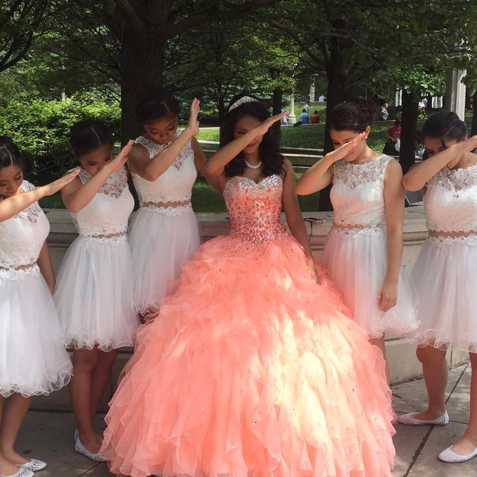 Formal Gown For Wedding: Peach Adjustable Quinceañera Prom Dress/ Ball Gown Formal