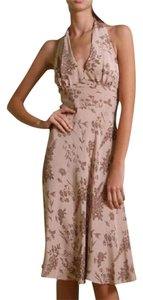 FLORA KUNG short dress NWT dusty rose beige floral print Tea Length Halter Silk Two-tone on Tradesy
