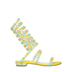 Rene Caovilla Floral Ankle Strap Yellow Green Sandals