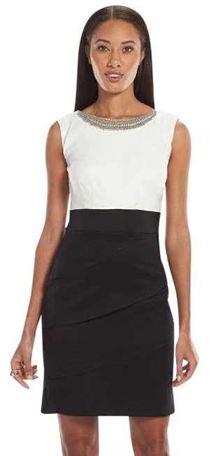 Item - Black/Ivory Womens Black/Ivory Pearl-embellished Tiered Sheath Short Cocktail Dress Size 8 (M)