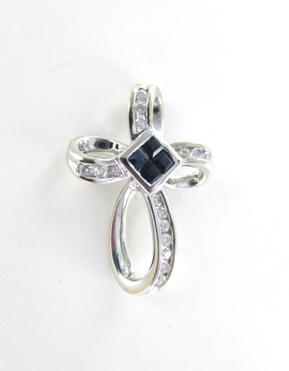 Other 14KT SOLID WHITE GOLD CROSS 16 DIAMONDS .32 CARAT 4 SAPPHIRES PENDANT 3.1 GRAMS Image 2