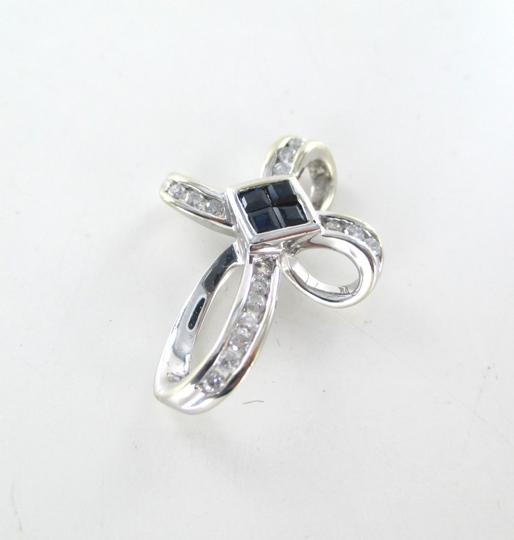Other 14KT SOLID WHITE GOLD CROSS 16 DIAMONDS .32 CARAT 4 SAPPHIRES PENDANT 3.1 GRAMS Image 3